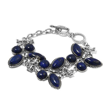 Marquise Lapis Lazuli Silvertone Toggle Clasp Charm Bracelet for Women 7.5