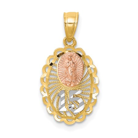 14k Two Tone Yellow Gold 15 Guadalupe Pendant Charm Necklace Religious Medal Our Lady Of Gifts For Women For Her - Lady Guadalupe Medal Pendant