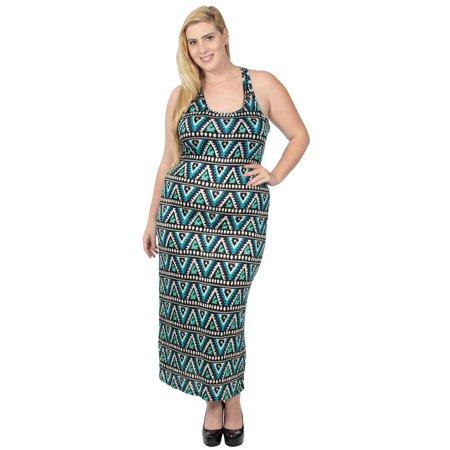 Plus Size Tribal Dress (Plus Size Tribal Print Dress in Soft, Stretch Fit,)