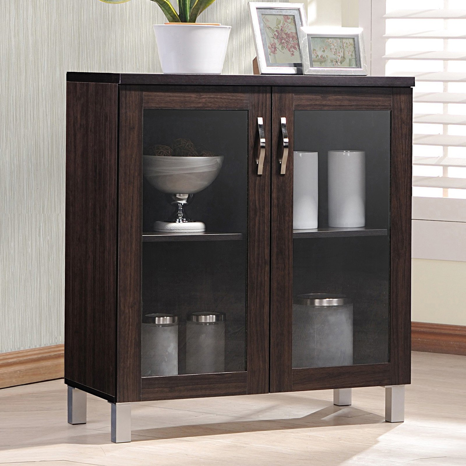Baxton Studio Sintra Sideboard Storage Cabinet with Glass Doors by Wholesale Interiors