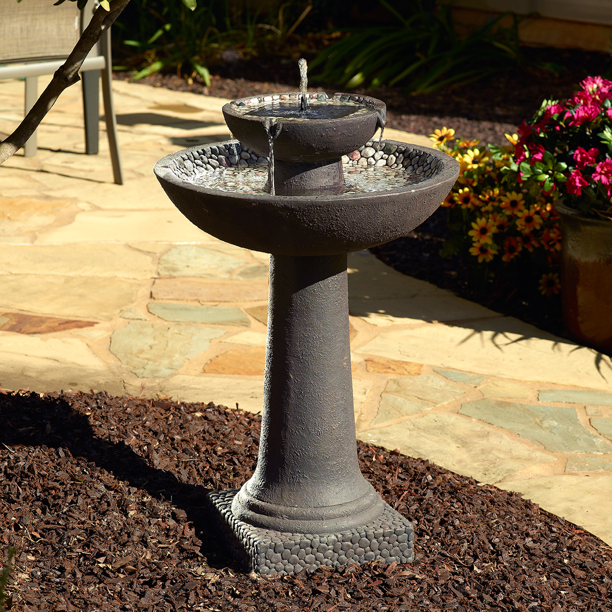 Riverstone Solar-on-Demand 2-Tier Fountain Brown by Smart Living Home & Garden