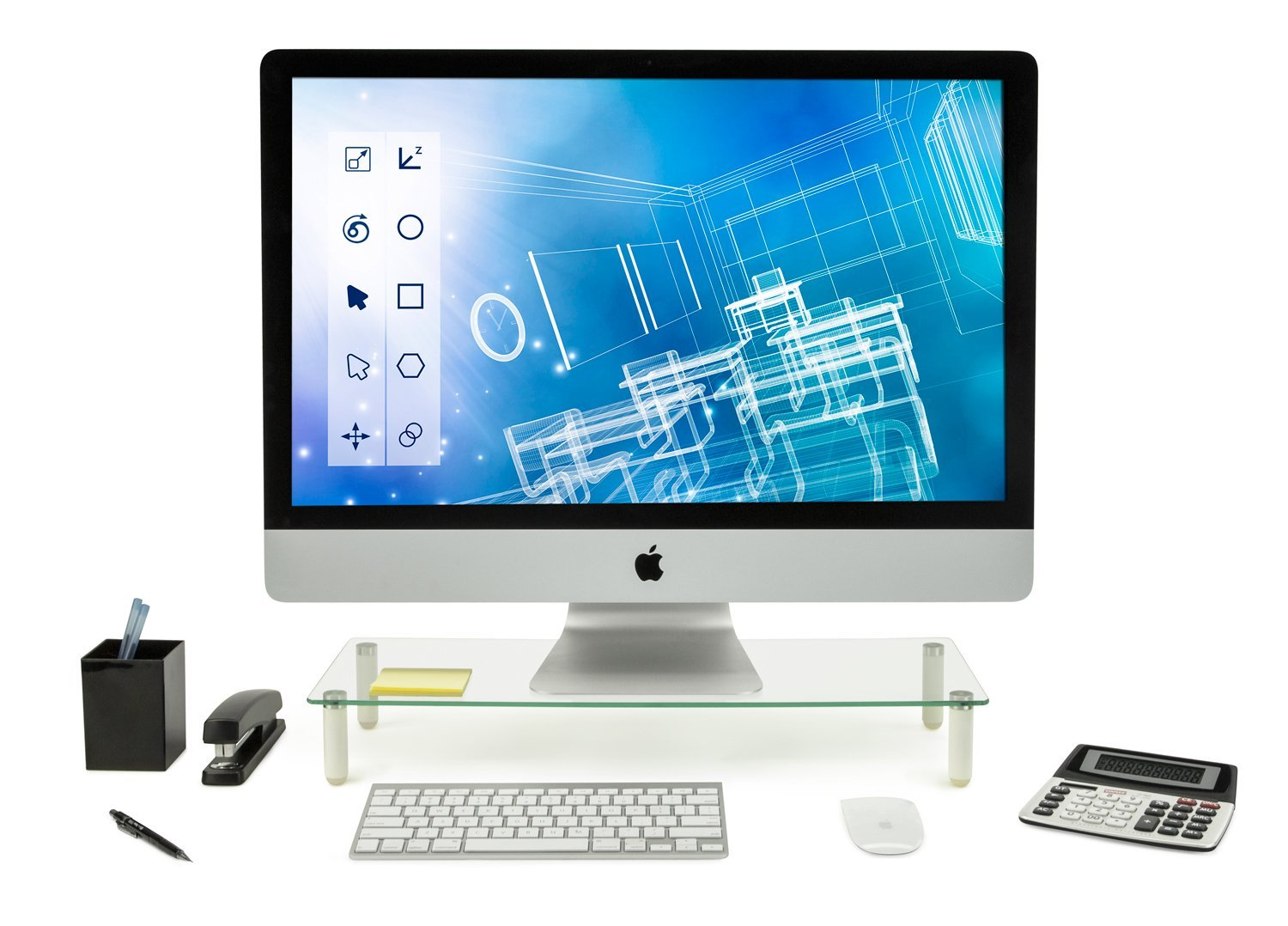 Mount It Glass Monitor Stand Notebook Ergonomic Desk Riser And Organizer 22 Inches Wide Tempered 44 Lb Carrying Capacity Com