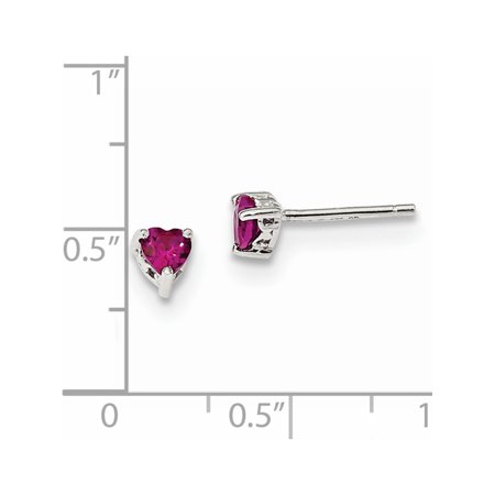 925 Sterling Silver 4mm Heart Created Ruby Post (4.5x4.5mm) Earrings - image 1 of 2