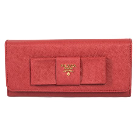 Prada Red Saffiano Leather Flap Wallet With Bow Detail 1MH132 ZTM (Red Pradas)