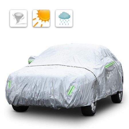 Waterproof Anti UV Folded Full Car Protective Cover With Reflective Strip HFON Folding Car Covers
