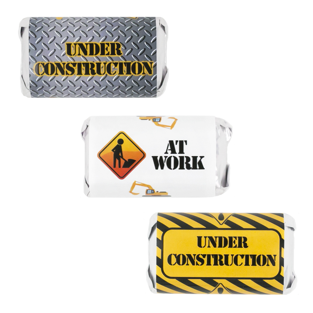 Under Construction Party Decoration Stickers for Hershey's Miniatures Candy Bars (Set of 54)