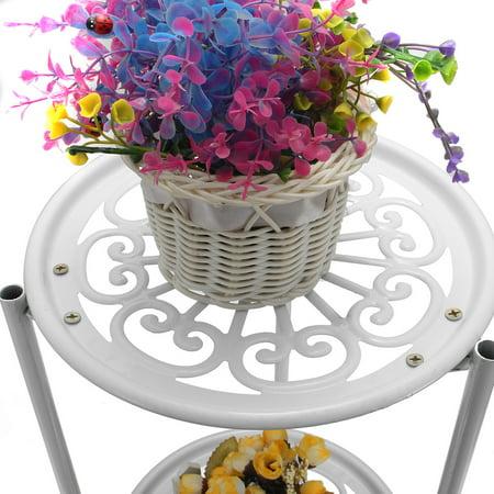 Metal Round Plant Stand Plants Shelf Holder Two-layer Decorative Flower Pot - image 7 de 8