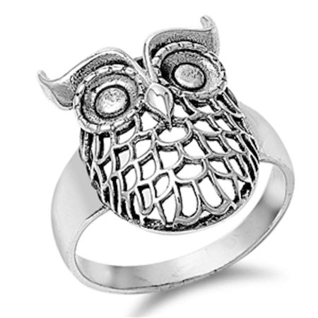 Solid Plain Owl .925 Sterling Silver Ring Sizes (Owl Face Ring)