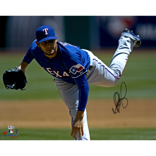 "Martin Perez Texas Rangers Fanatics Authentic Autographed 16"" x 20"" Blue Jersey Pitching Photograph - No Size"