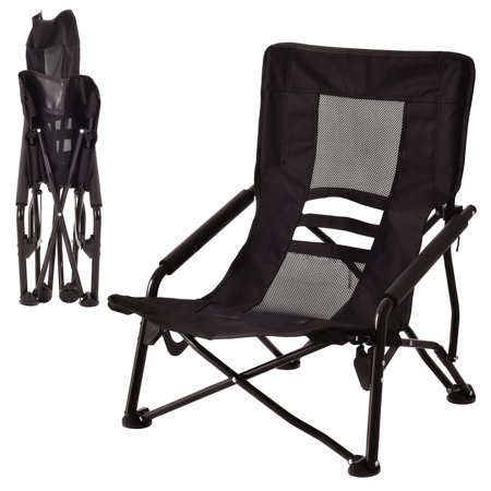 costway outdoor high back folding beach chair camping furniture portable mesh seat black. Black Bedroom Furniture Sets. Home Design Ideas