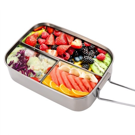 Bento Lunch Box Food Storage Container Boxes for Adults Kids, Three Section Design, Stainless Steel (Kids Store Design)