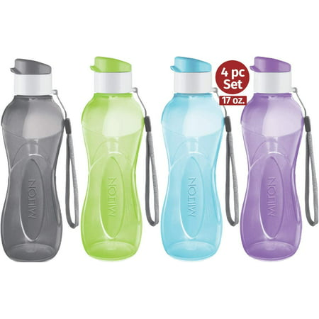 MILTON Water Bottle Kids Reusable Leakproof 17 Oz 4-Pack Plastic Wide Mouth Large Big Drink Bottle BPA & Leak Free with Handle Strap Carrier for Cycling Camping Hiking Gym Yoga - Pastel Colors
