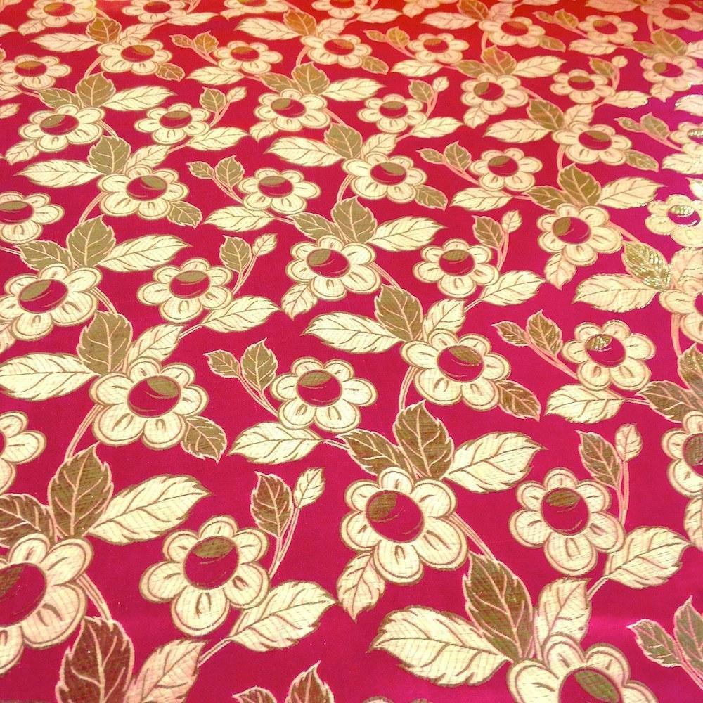 """Metallic Daisy Floral Brocade Fabric 60"""" Sold By the Yard in Many Colors (Turquoise / Gold)"""