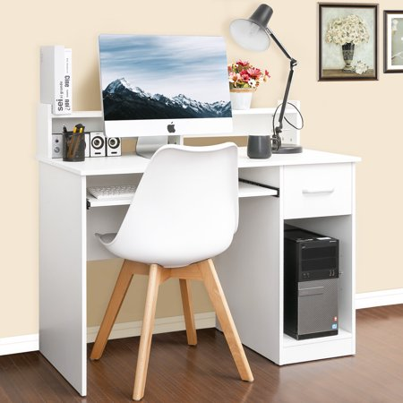 Merax Computer Desk Office Home Furniture Writing Desk with Hutch and Keyboard Tray, Multiple Colors
