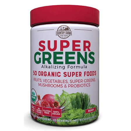 Country Farms Super Greens Powder, Berry, 10.6 Oz, 20 Servings (Packaging May