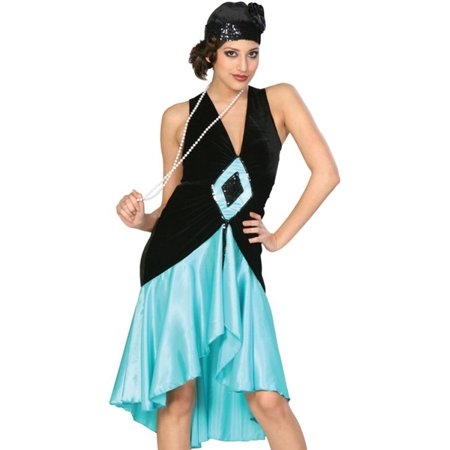 Cinema Secrets Teal Black 20s Flapper Dress Adult Costume + Cloche Hat (20s Dress Style)