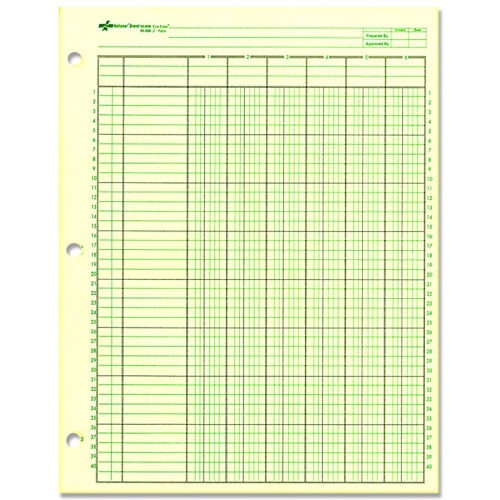 REDIFORM OFFICE PRODUCTS                           Analysis Pad, 6 Column, 3 Hole, 1-7/16''W, 11''x8-1/2'', Green
