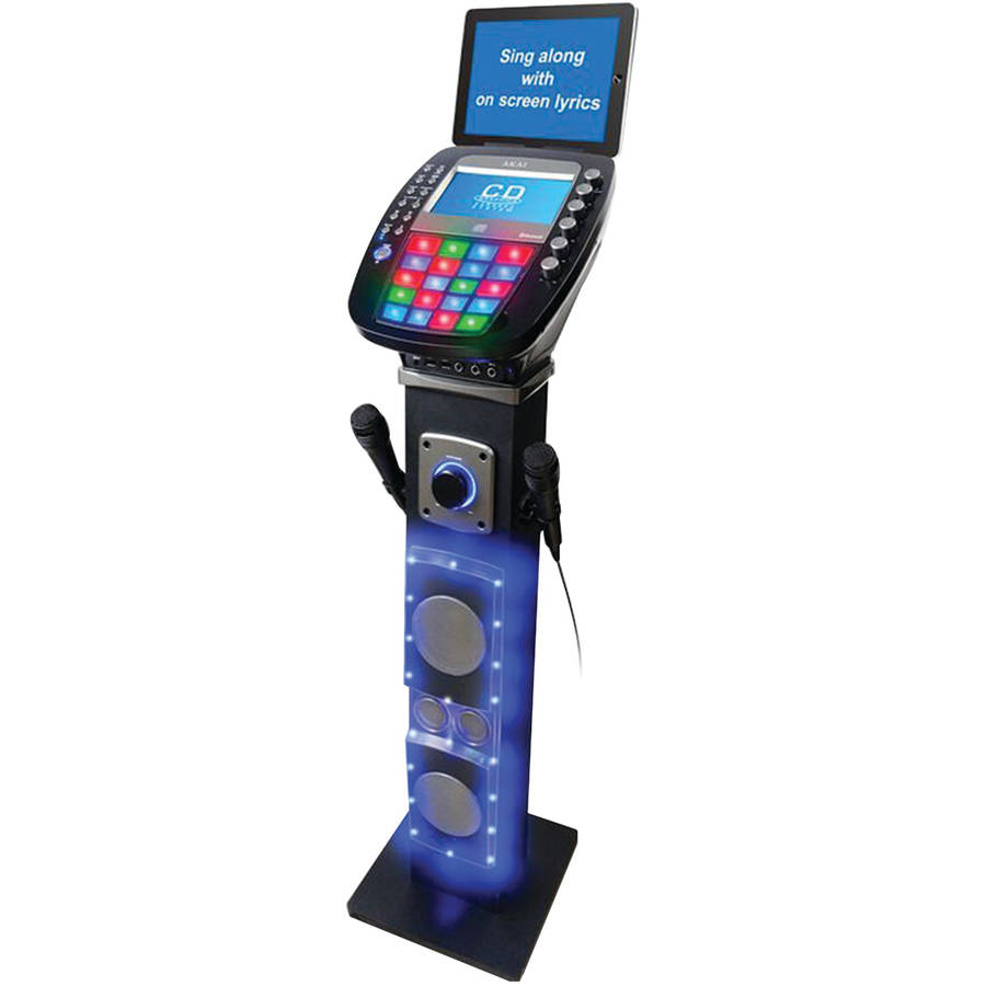 "Akai KS878-BT Bluetooth CD&G Pedestal Karaoke System with USB Playback/Record, 7"" Color Display and Multi Color Lighting Effect"