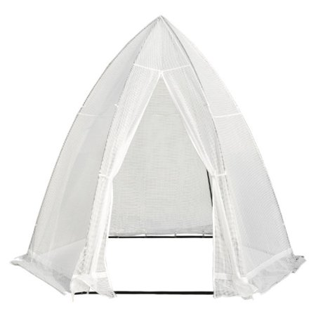 Abba Patio Portable 10.4'D x 9'W Hexagonal Walk in Greenhouse Fully Enclosed Lawn and Garden Outdoor Tent with Window, White ()