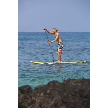 Hawaii Maui Makena Athletic Stand Up Paddle Surfer In Ocean Stretched Canvas - MakenaStockMedia  Design Pics (12 x 18) (Maui Paddle)