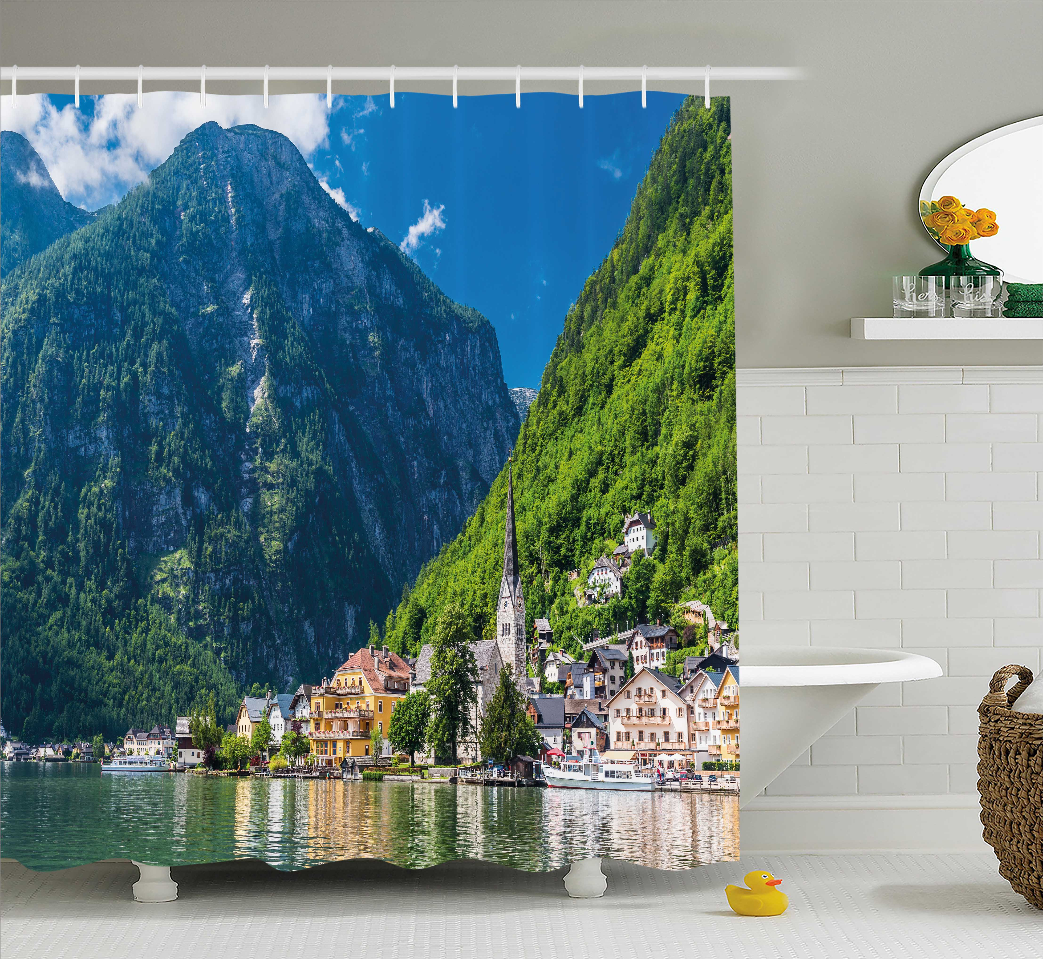 Landscape Shower Curtain, Natural View of Hallstatt in Austria Mountains Forest Town Houses Clear Sky, Fabric Bathroom Set with Hooks, 69W X... by Kozmos