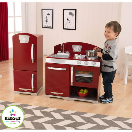 KidKraft 2 Piece Red Retro Kitchen and Refrigerator