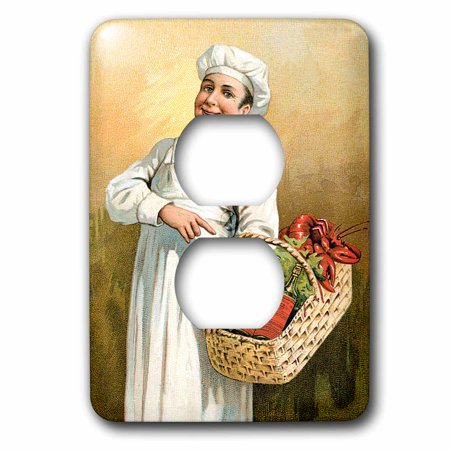 3dRose Vintage Chef Carrying a Basket of Lobsters and Bottles of Wine - 2 Plug Outlet Cover