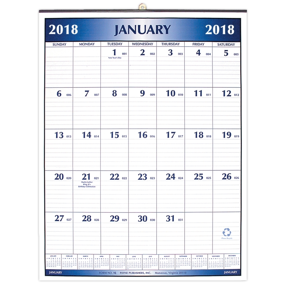 Large Office Wall Calendar 2018 Big Grid By Payne Publishers