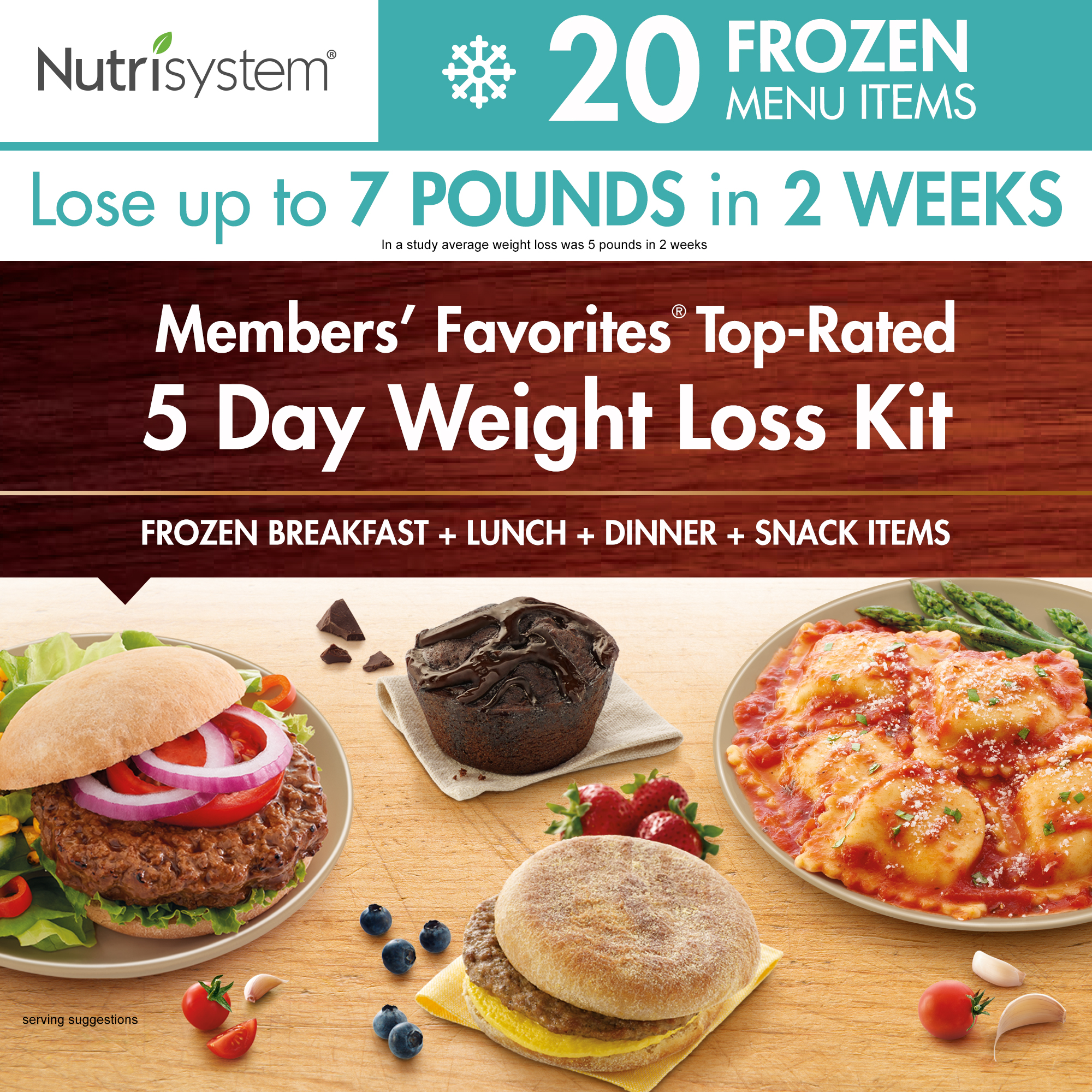 Nutrisystem 5 Day Members' Favorites Top-Rated Frozen Weight Loss Kit,15 Meals, 5 Snacks