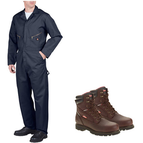 Dickies Men's Long Sleeve Coverall and JobRated Brawn Waterproof Work Boot Value Bundle
