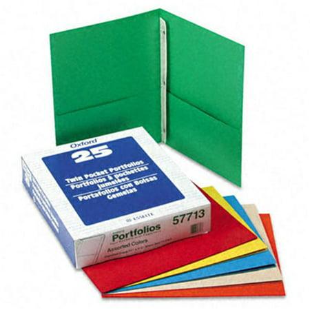 Esselte Pendaflex 57713 Paper Twin-Pocket Portfolio  Tang Clip  Letter  1/2   Capacity  Assorted  25/Box