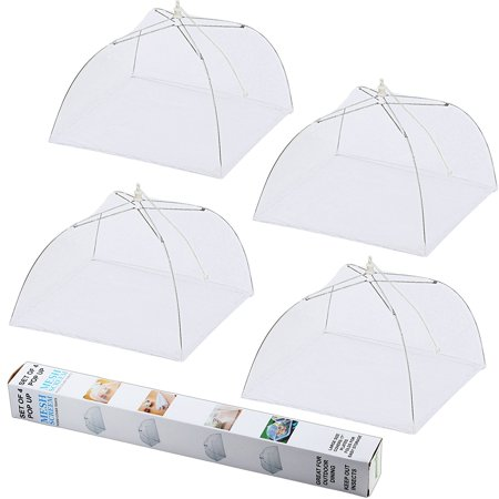 IPOW Mesh Food Cover Tents 4 Pack Pop-up Food Nets Umbrella 17 in Reusable Collapsible Covers Mesh for Home Outdoor, Protect Your Food From Flies and Bugs at Picnics