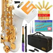 Lazarro® Professional White-Gold Keys Eb E Flat Alto Saxophone Sax with 11 Reeds, Case & Many Extras - 360-WH