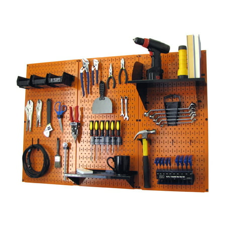 4ft Metal Pegboard Standard Tool Storage Kit - Orange Toolboard & Black Accessories (Pegboard Storage)