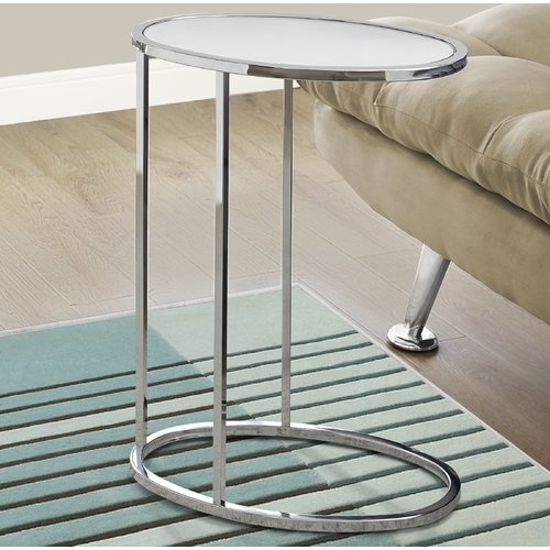 Monarch Accent Table Oval   Chrome   Frosted Tempered Glass by Monarch Specialties