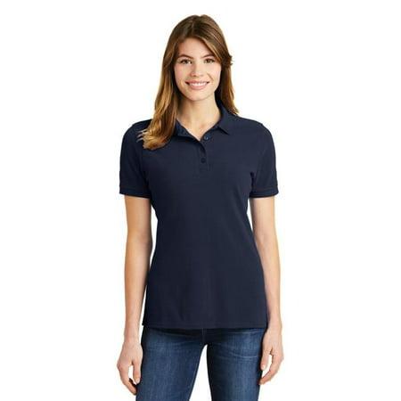 port 1190603 ladies ring spun pique polo shirt, deep navy - medium