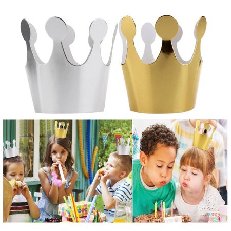 6Pcs Kids Adult Birthday Hats Cap Crown Prince Princess Party Decoration Paper