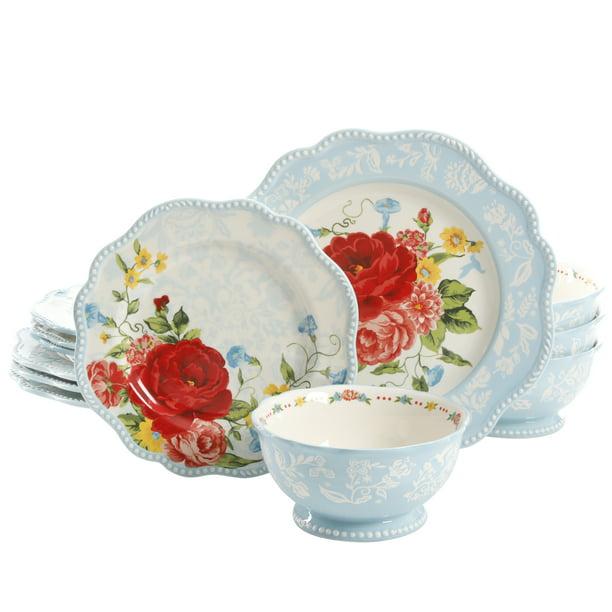The Pioneer Woman Sweet Rose 12 Piece Dinnerware Set Walmart Com Walmart Com