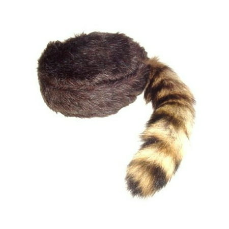 Davy Crockett or Daniel Boon Style Coon Skin Hat with Fake Tail Size Small - Coon Hat