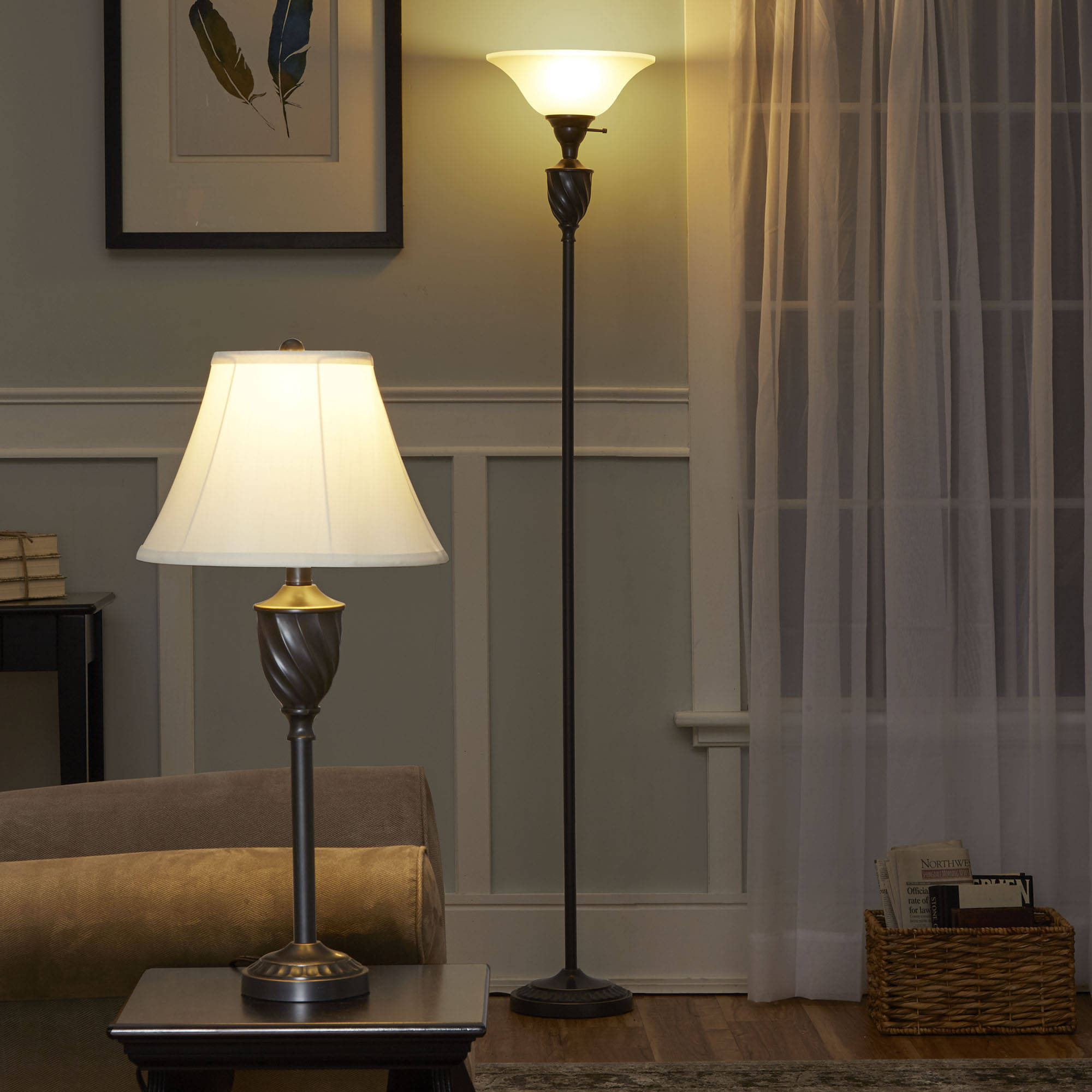 Mainstays Table and Floor Lamp Set with CFL Bulb, Oil-Rubbed ...