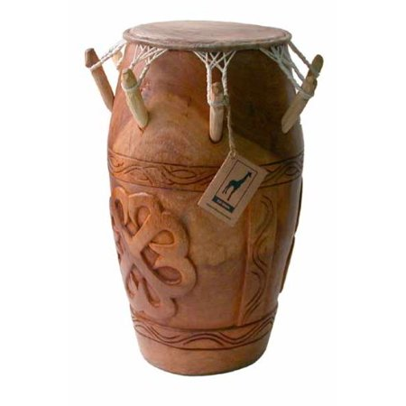 Hand-carved African Kpanlogo Peg Drum from Ghana - 11