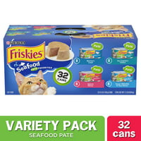 (32 Pack) Friskies Pate Wet Cat Food Variety Pack, Seafood Favorites, 5.5 oz. Cans