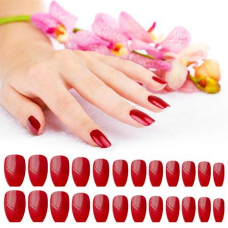 24pcs Colorful Coffin Nails False Nails Art Tips Sets Full Cover Medium Ballerina Artificial Nails Art Tips - image 1 de 5