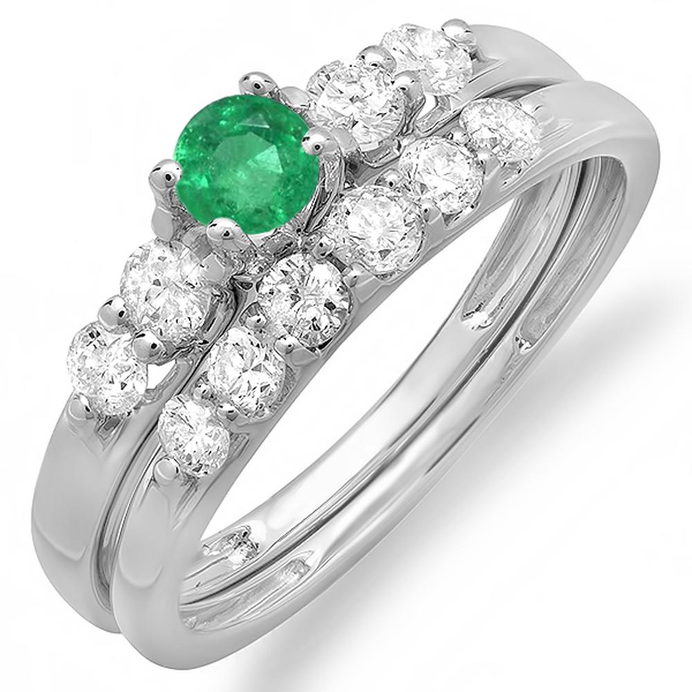 14K White Gold Round Emerald And White Diamond Ladies Bridal 5 Stone Engagement Ring Wedding Set