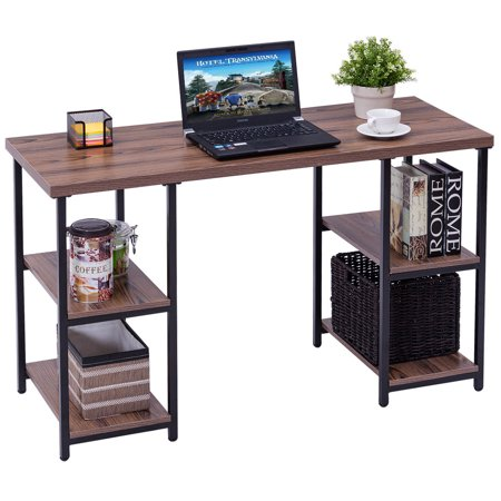 Costway Computer Desk PC Laptop Table Writing Study Workstation with 4 Storage Shelves ()