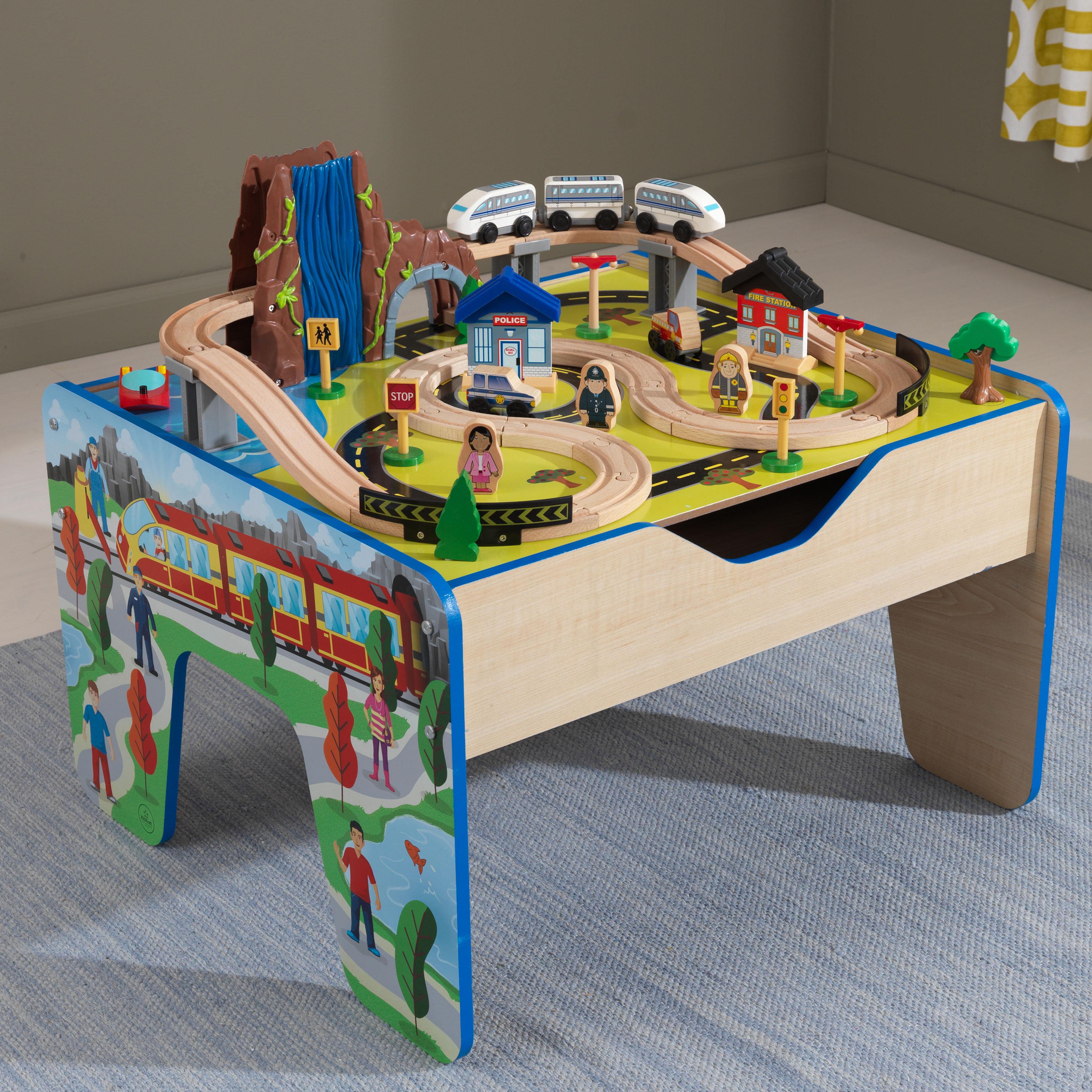 KidKraft Rapid Waterfall Train Set & Table with 48 accessories