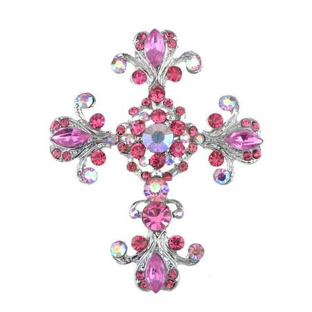 Victorian Pink Rose Crystal Rhinestone Flourish Floral Holy Cross Pin Brooch (Holy Cross Halloween)