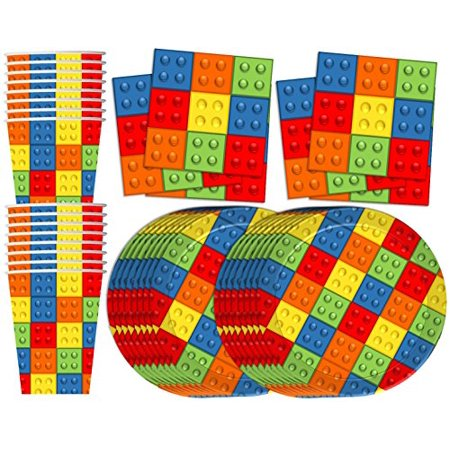 Building Blocks Birthday Party Supplies Set Plates Napkins Cups Tableware Kit for 16 by Birthday Galore Building Blocks Birthday Party Supplies Set Plates Napkins Cups Tableware Kit for 16 by Birthday Galore