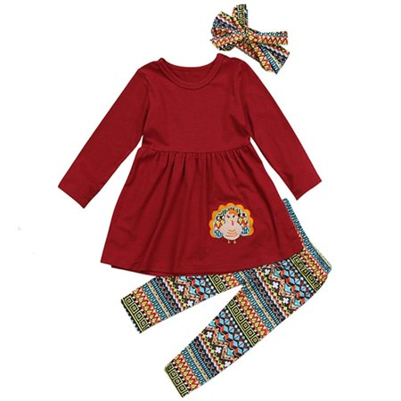 Thanksgiving Day Turkey Kids Baby Girl Outfit Tops+Leggings+Headband Clothes ()