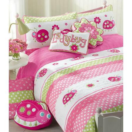 - Pink Ladybug 100% Hypoallergenic Cotton 3 piece Quilt Set Bedroom Quilt Bedding Full/Queen Size Pink